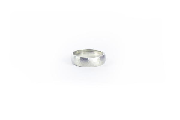 White Gold Hammered Wedding Band