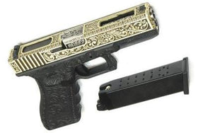 WE Tech G series Engraved G18C IV GBB Pistol(Ivory)-Pistols-Crown Airsoft