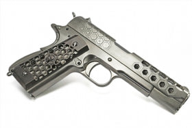 WE-Tech 1911 Hex-Cut GBB Pistol (Silver)-Pistols-Crown Airsoft