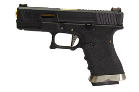 WE Tech G Force G19 T1 GBB pistol G19 (Black/ Gold/ Black)-Pistols-Crown Airsoft
