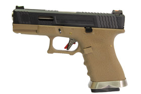 WE Tech G Force G19 T2 GBB pistol G19 (Black/ Silver/ Tan)-Pistols-Crown Airsoft