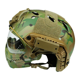 Crown Tactical Series Helmet with Fullface mask & ARC Side Rail (Multi-Cam)-Helmet-Crown Airsoft