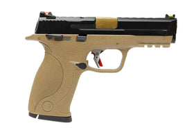 WE Tech BB FORCE GBB Pistol T3A Full-Auto(BK Slide/GD Barrel/TAN Frame)-Pistols-Crown Airsoft