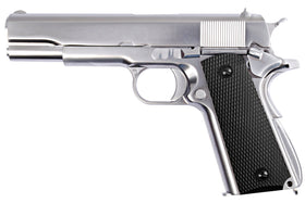 WE Tech 1911 Full metal semi-auto GBB Pistol (Silver edition)-Pistols-Crown Airsoft
