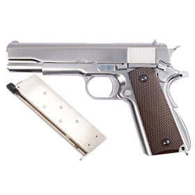 WE Tech 1911 GBB Pistol (Matte Chrom/ Checker Grip)-Pistols-Crown Airsoft