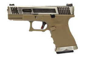 WE Tech G Force G19 GBB pistol T8 (Silver/ Silver/ Tan)-Pistols-Crown Airsoft