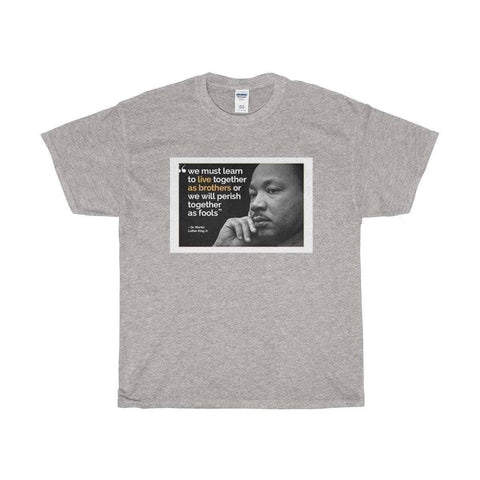 "Download ""Live As Brothers"" - MLK Quote - Unisex Heavy Cotton Tee, Urban Books, Black History and more at United Black Books! www.UnitedBlackBooks.org"