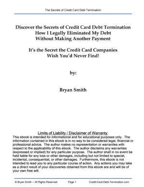 Download Secrets of Credit Card Debt Termination by Bryan Smith, Urban Books, Black History and more at United Black Books! www.UnitedBlackBooks.org