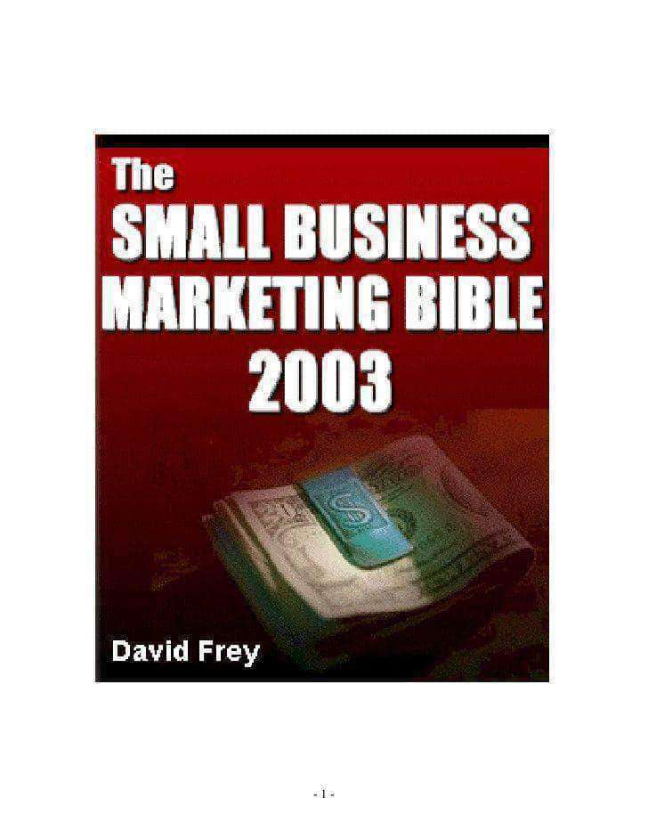 The Small Business Marketing Bible By David Frey (E-Book) African American Books at United Black Books Black African American E-Books