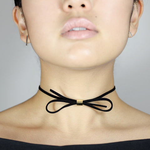 Ribbon suede choker - HerBanana