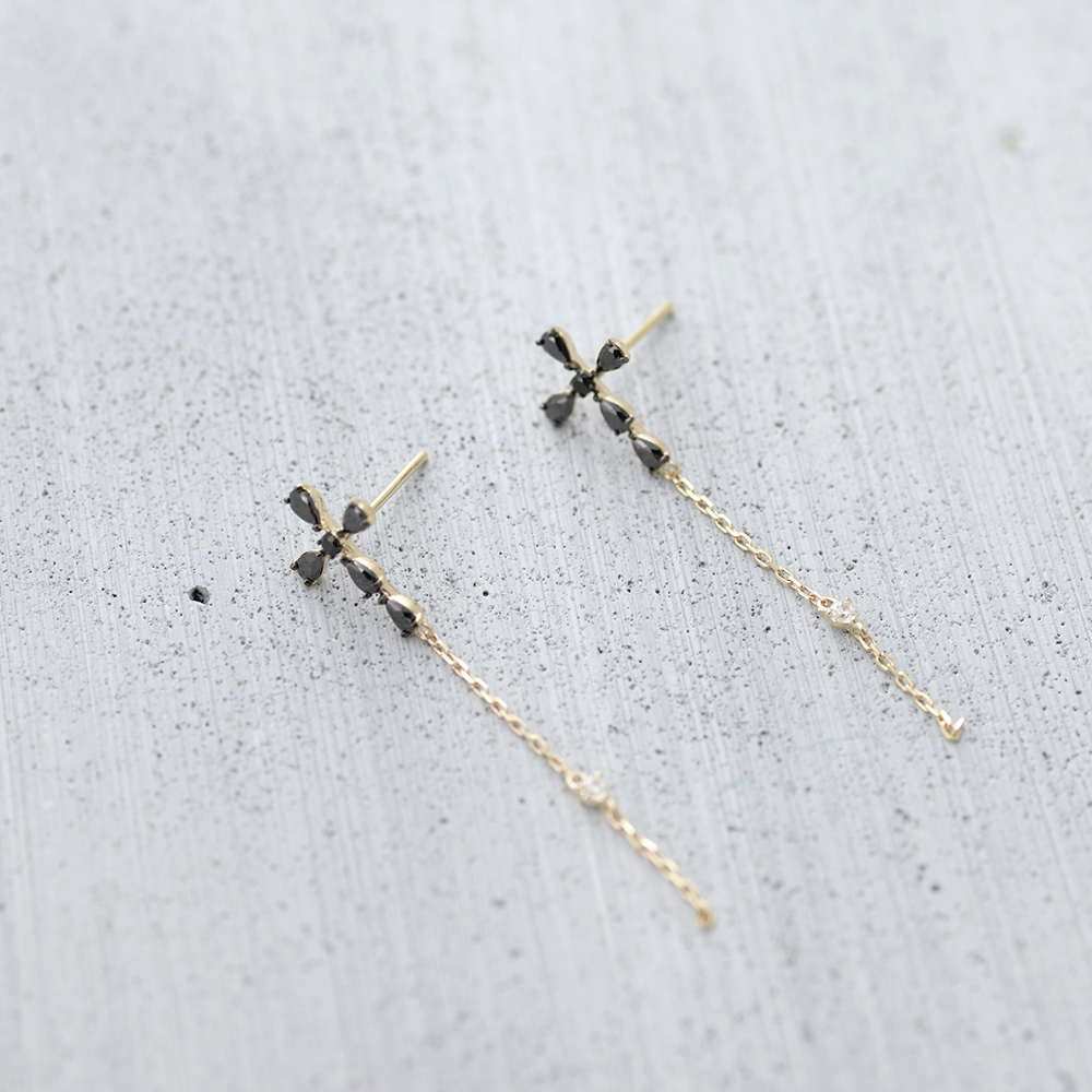 Black cross drop Earrings - HerBanana