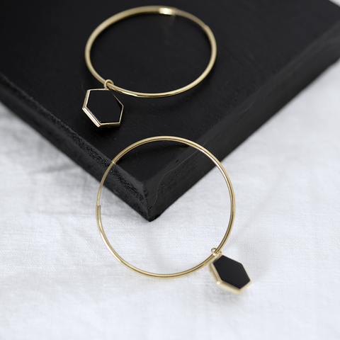 City hexagon hoop Earrings - HerBanana