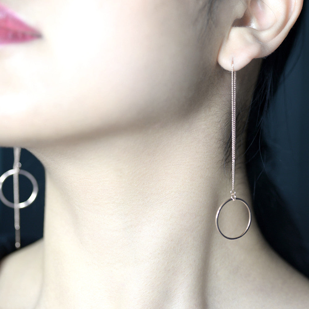 Circle long chain Earrings - HerBanana