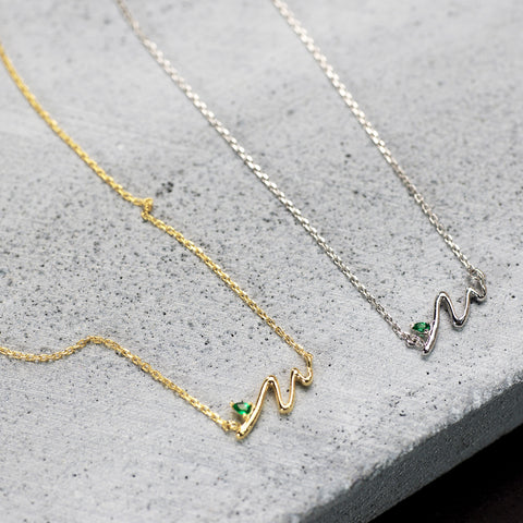 Double wave stone Necklace - HerBanana