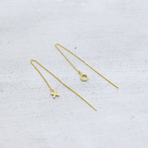 Kiss and Hug silver thread chain earrings, chain drop earrings, xo chain drop earrings, friendship earrings, gold kiss and hug chain earrings