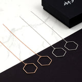 Hexagon long chain Earrings - HerBanana