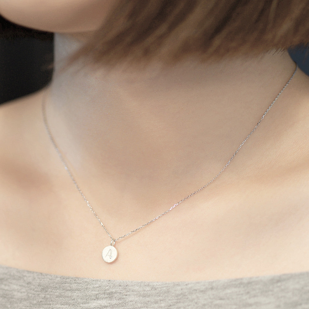 Circle initial charm Necklace - HerBanana