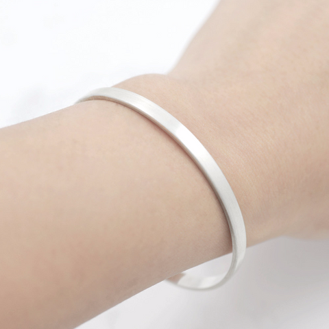 Silver square band cuff Bracelet - HerBanana