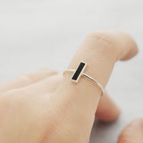 Rectangle city onyx Ring - HerBanana