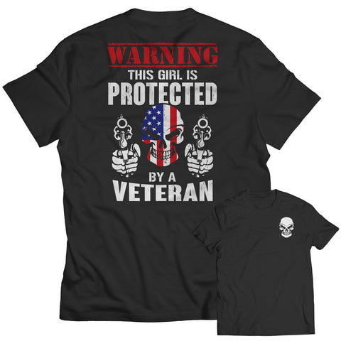 Limited Edition - Warning This Girl is Protected by a Veteran-Unisex Shirt-slingly-Unisex Shirt-Black-S-Deal Digs