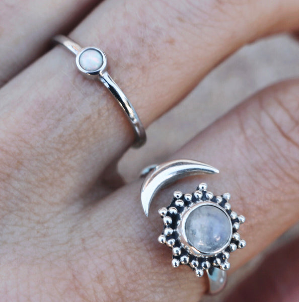 Sun and moon moonstone ring
