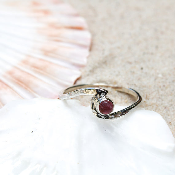 Tourmaline Hammered Silver Wave Ring