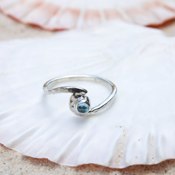 Topaz Hammered Silver Wave Ring
