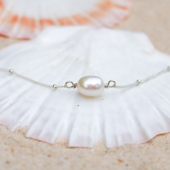 Sterling Silver Pearl Anklet