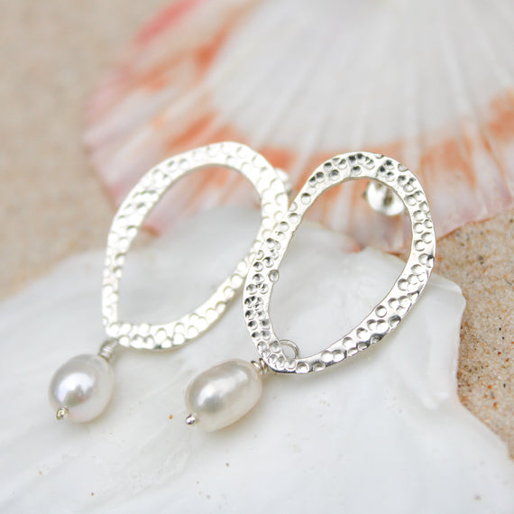 Pearl Ripple Drop Earrings