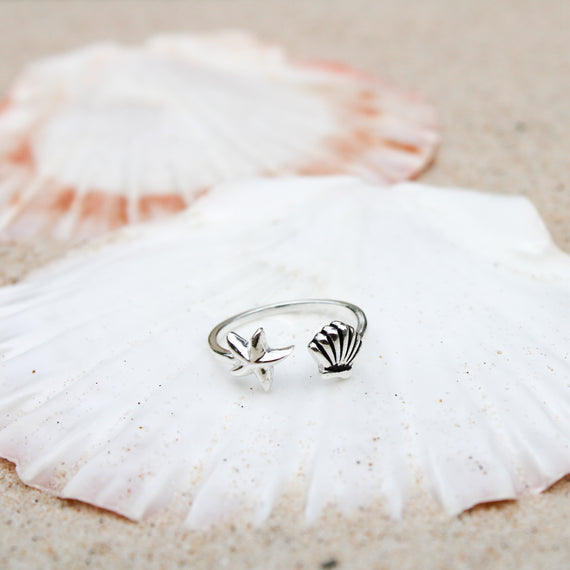 Silver Fan Shell and Sea Star Ring
