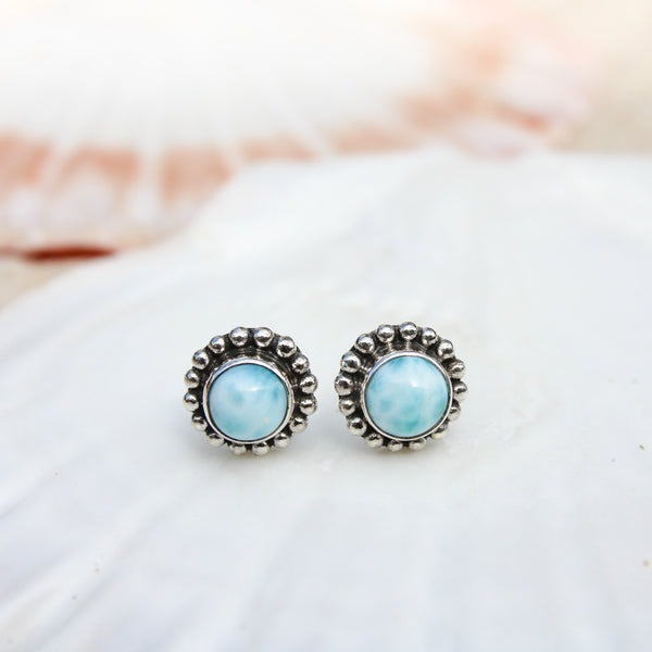 Larimar Ocean Stud Earrings