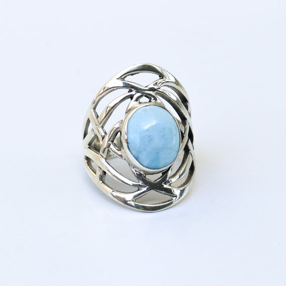 Larimar Ocean Swirls Ring