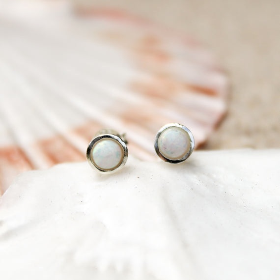White opal earrings