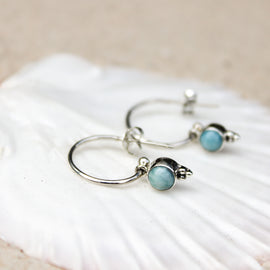 Larimar Hoop Earrings