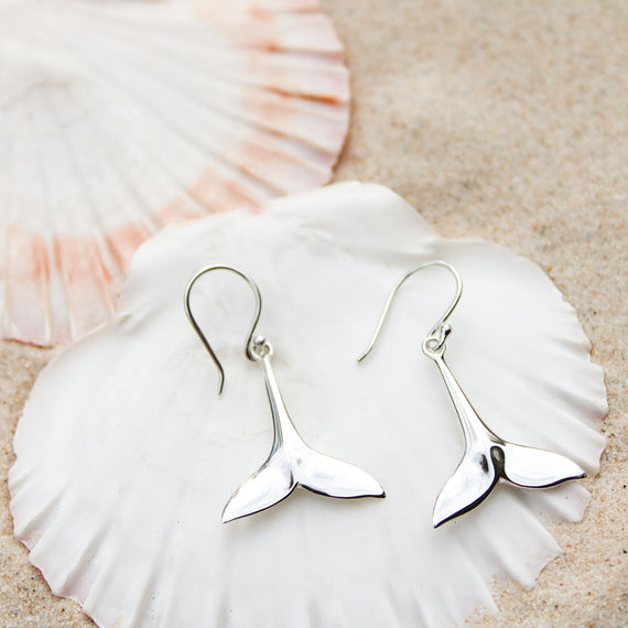 Large Whale Tail Drop Earrings