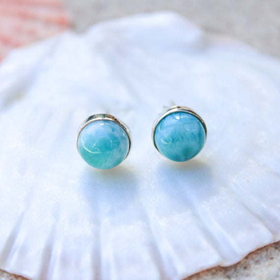 Larimar Circle Stud Earrings