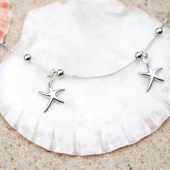 Silver Sea Star Anklet