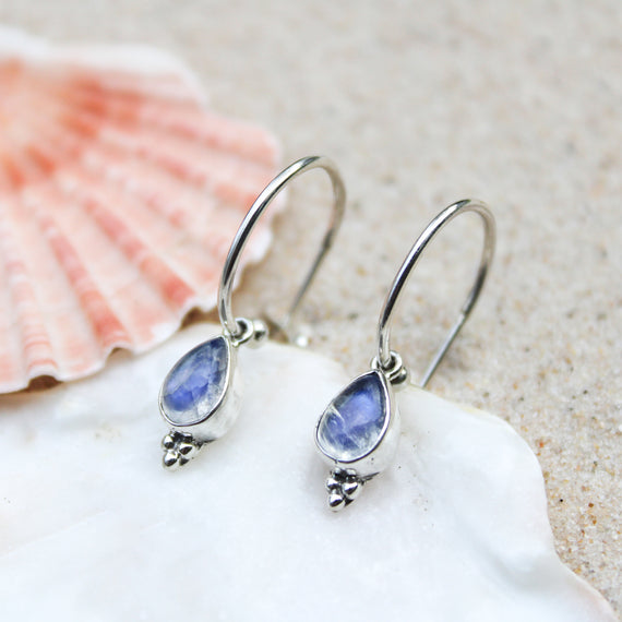 Moonstone Teardrop Hoop Earrings