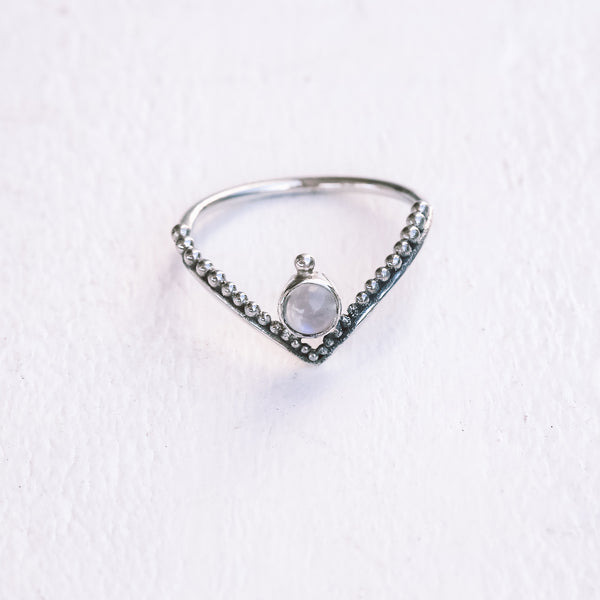 Dainty Moonstone V Ring