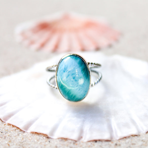 Oval Larimar Double Twirl Ring