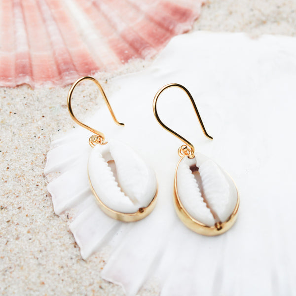 Gold Island Cowrie Earrings