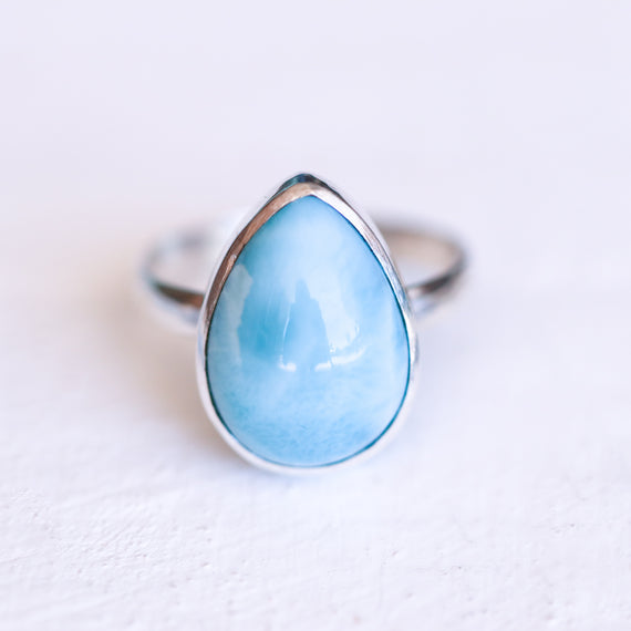 Simple Larimar Teardrop Ring