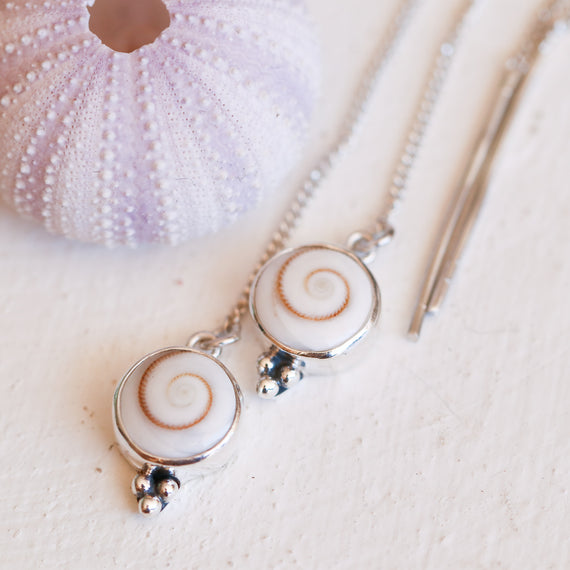 Swirl Shell Threader Earrings