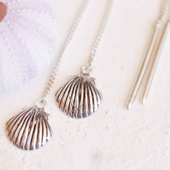 Silver Fan Shell Threader Earrings