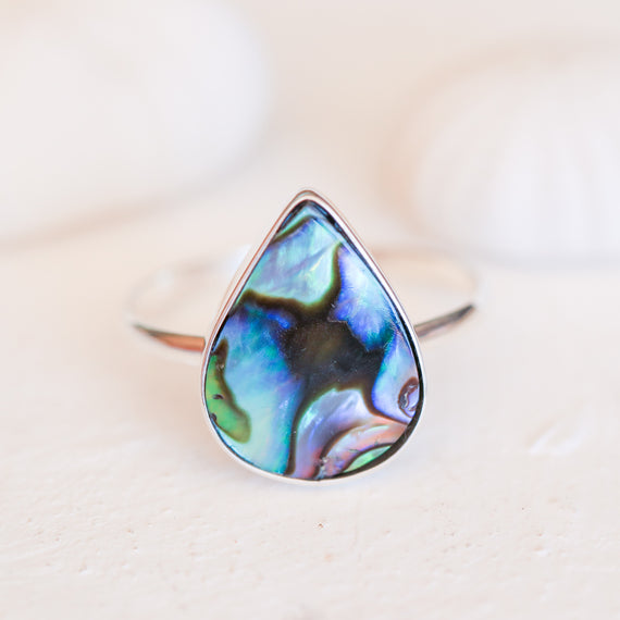Abalone Shell Teardrop Ring