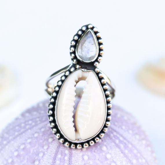 Moonstone cowrie shell ring