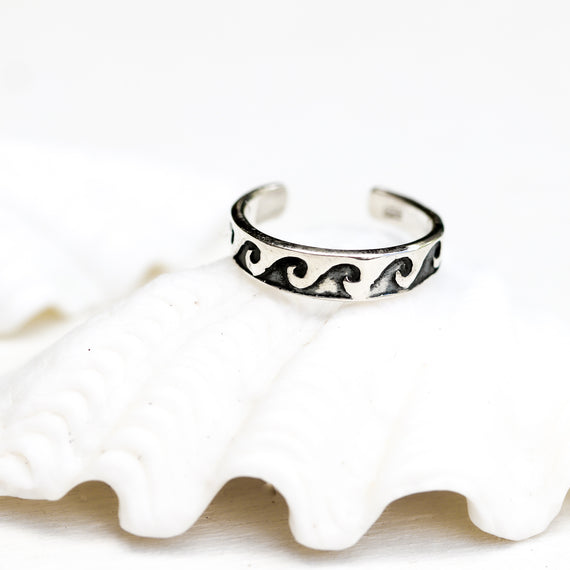 Oxidised Silver Wave Toe Ring