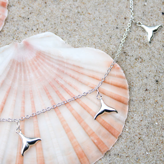 Silver Whale Tail Anklet