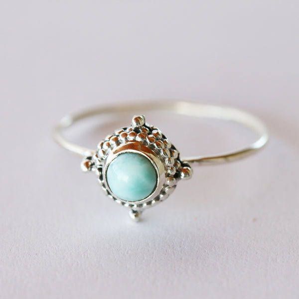 Larimar Circle Point Ring