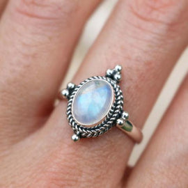 Moonstone 4 Point Ring